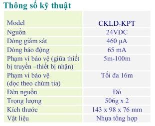 Đầu báo khói loại Beam (Thu Phát) 24 VDC, Model: CKLD-KPT